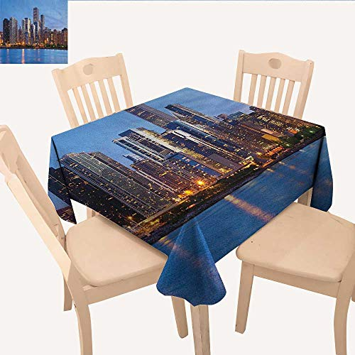 longbuyer Chicago Skyline Printed Tablecloth Sunset in Big City with Dramatic Sky Skyscrapers Evening by Lake Outdoor Tablecloth Blue Orange Taupe W 70