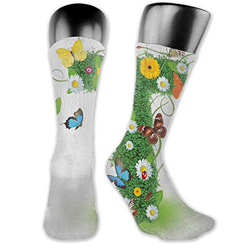 - Funny Socks meia masculina Letter T,Nature Inspired Design with Flowers and Animals Green Foliage Summer Vibes, Green Multicolor,socks for toddler boys with grip