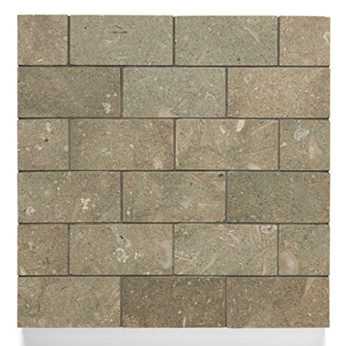 Waterworks Pistachio Limestone 1 7/8'' x 3 3/4'' Staggered Mosaic in Honed Finish by Water Works