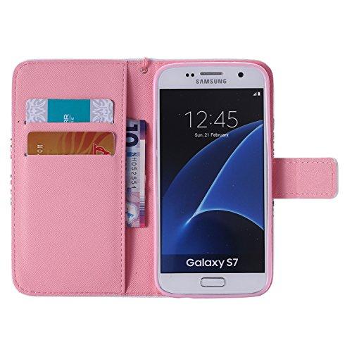 Funda para Samsung Galaxy S7, Galaxy S7 Funda de PU cuero resistente, Galaxy S7 Ultra Slim PU Cuero Folding Stand Flip Funda Carcasa Caso,Galaxy S7 Leather Case Wallet Protector Card Holders, Ukayfe C árbol negro