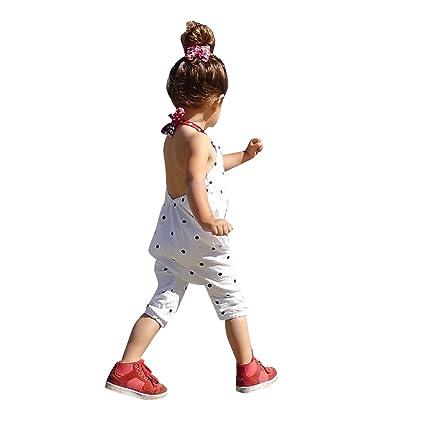 domybest Toddler Kids bebé niñas sin espalda lunares pelele mono body de ropa (tamaño 0
