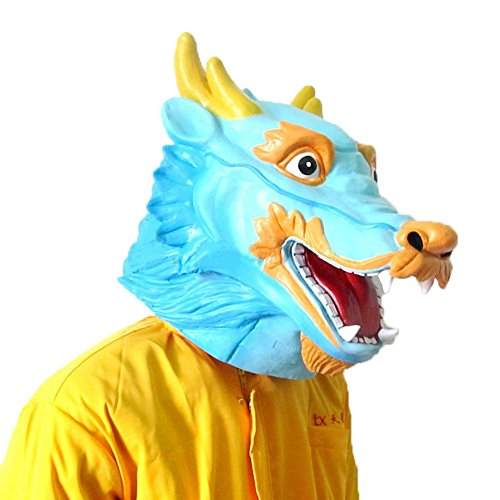 [The Twelve Zodiac Animal Mask - Halloween--Chinese Dragon] (Latex Wolf Suit)