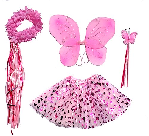 Girls Pink Butterfly Fairy Costume with Wings, Wand, Halo Age 3-8 (Halo Costume Child)