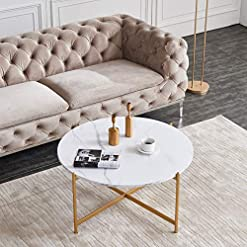 Living Room Modern Round Coffee Table Metal Frame with Marble Wood Top 32 Inch (White) modern coffee tables