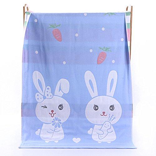 PENG Kids Bath/Beach/Pool Towel Girls Boys Cute Cartoon Animal Full Vitality,100% Cotton(rabbit blue) by PENG