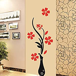 Decals Design 'Flowers with Vase' Wall Sticker (PVC Vinyl, 60 cm x 60 cm), Multicolour