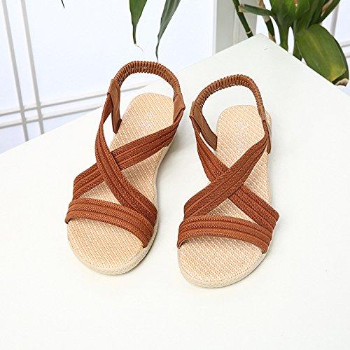 Chanclas Wild Y Light Para Mujer Planas Sandalias Verano De Sólidos brown WHLShoes Mujer Sandalias Cómodo Embarazadas Beach Wear Estudiante Colores pRZqREw