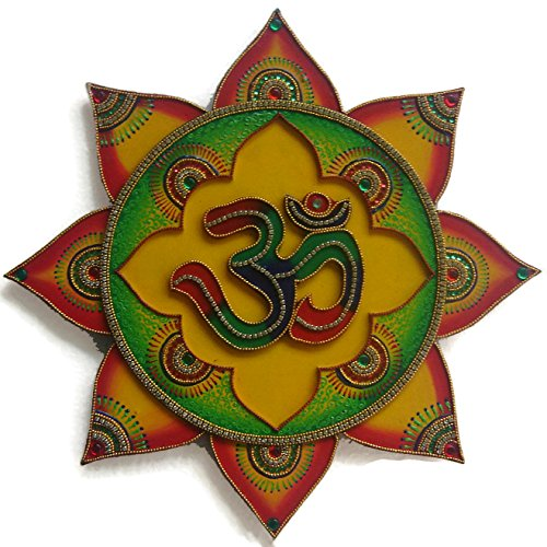 Om Symbol - Om Sign - Wall Painting - Wall Decor for Living Room - Handmade Hand Painted Hand Decorated - Hindu Art - Inspired by Temples In India - Multicolour (Wall Decor Symbol)