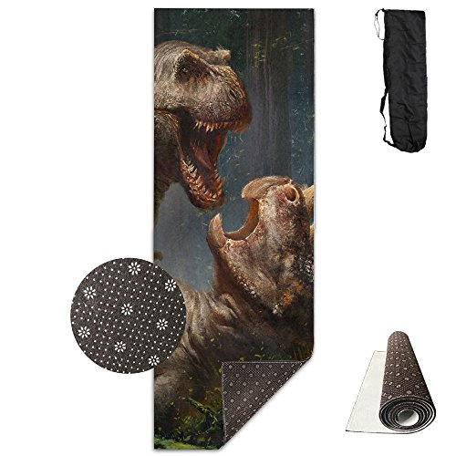 Dinosaur Wrestling Yoga Mat - Advanced Yoga Mat - Non-Slip Lining - Easy To Clean - Latex-Free - Lightweight And Durable - Long 180 Width 61cm by Mmim
