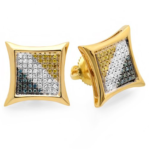 0.33 Carat (ctw) 18K Yellow Gold Plated Sterling Silver Blue, White, Yellow Round Diamond Micro Pave Setting Kite Shape Stud Earrings 1/3 CT