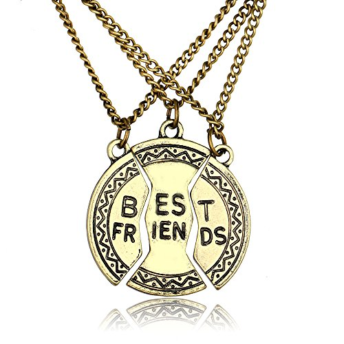 Jwoolw Jewelry Set of 3 Pieces BFF Best Friend Split Heart Pendant Necklace,forever Valentine Heart Necklace in Bronze ,Friendship Accessories for Teens - Friend Set Of Necklaces 3 Best