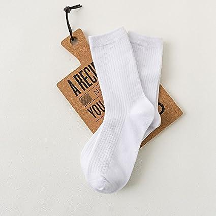 Liuxc Calcetines Calcetines de algodón de Color Puro Calcetines Blancos de algodón y Calcetines Blancos Puros