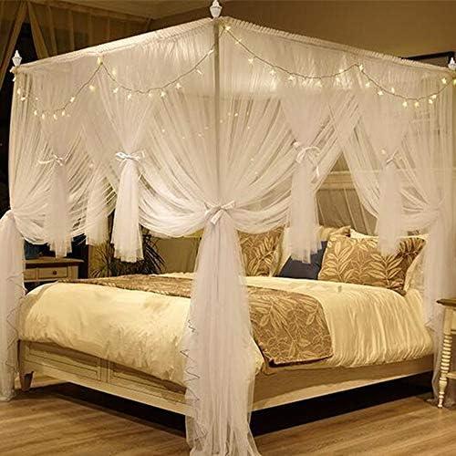 姫ベッドキャノピー,4コーナーポストベッドカーテン 3ステンレス鋼サポートとスターライトが付いている蚊のネットを開く-