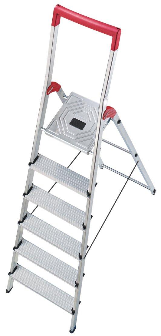 Hailo 8936-001 L50 Scala di Sicurezza in Alluminio 6 gradini con Sbarra di Sicurezza