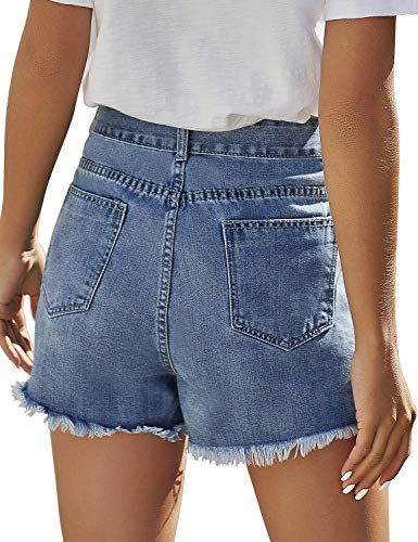 luvamia Women's Mid Rise Ripped Denim Shorts Frayed Raw Hem Casual Jeans Shorts