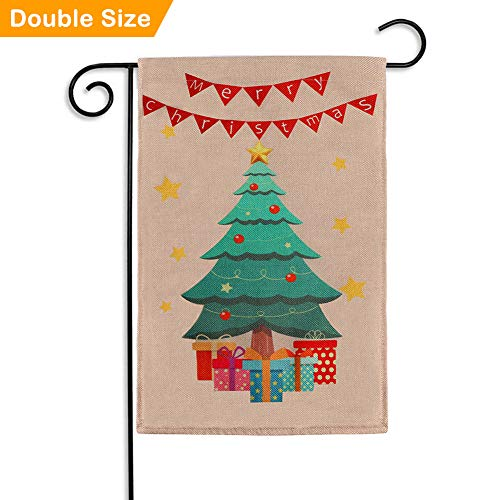 Aytai Burlap Christmas Garland Flag 12 x 18 Double Sided for Year Outdoor Decoration ()