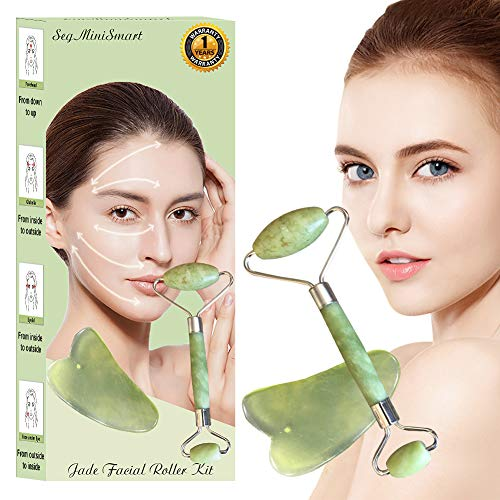 Jade Roller Massager for Face Anti Aging Gua Sha Scraping Massage Tool Set Therapy 100% Natural Jade Facial Roller Anti Wrinkle and Skin Rejuvenate