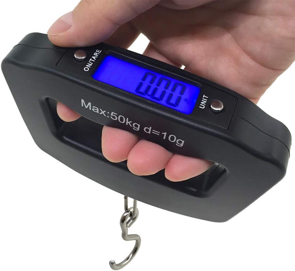 AFUNTA 50Kg / 10g LCD Inicio Electrónica Digital portátil para Colgar del Gancho del Peso del Equipaje del Viaje Escala