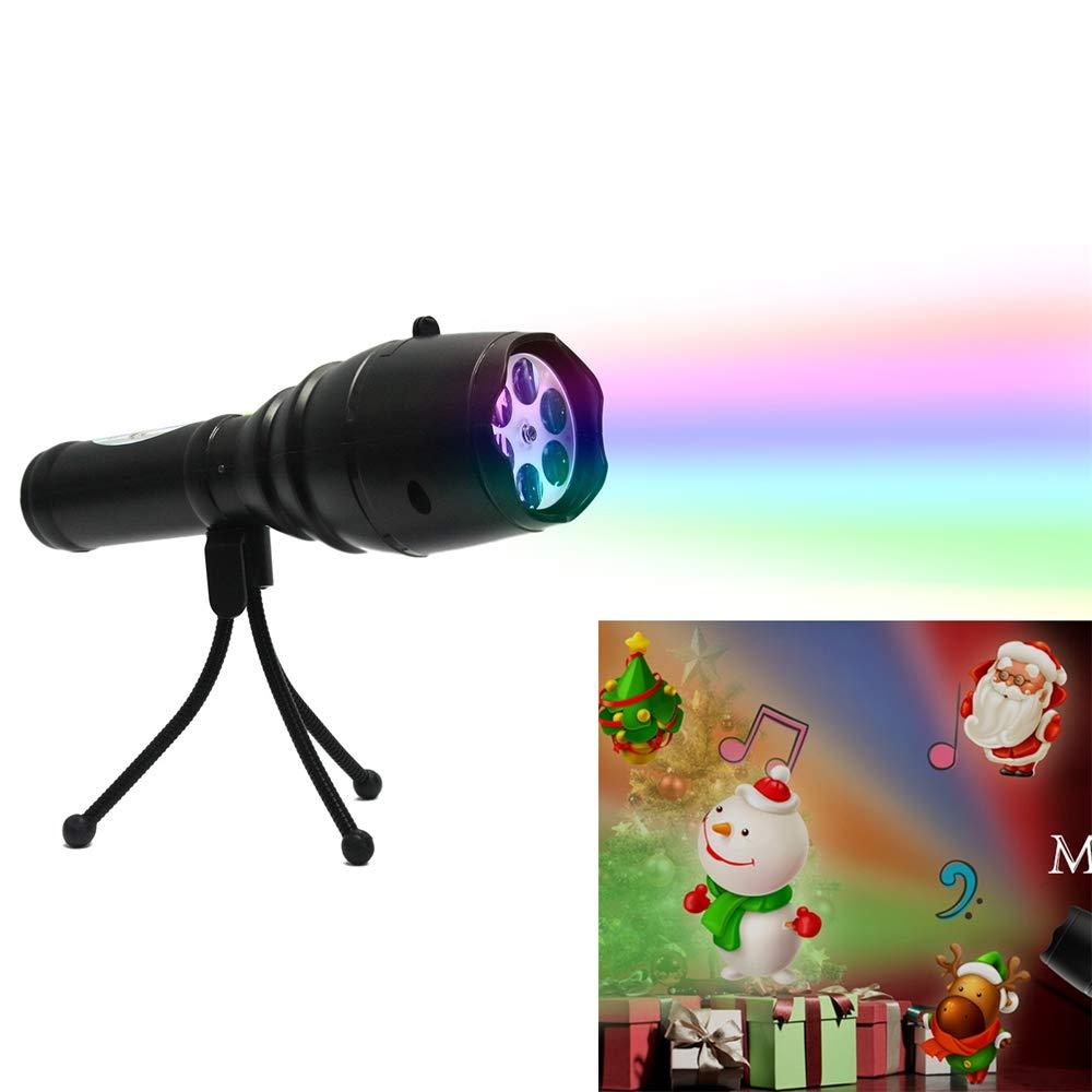 Black Flashlight Projection lamp 12 Pattern Slides Handheld Projector Toy for Kids Portable LED Flashlight