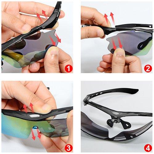 Sunroyal Mejorar TR90 Ajustables Gafas de Sol de Deporte Polarizadascon con Gafas Ciclismo Hombre Proteccion UV400, 4 Lentes Intercambiables,Marco de Miopía ...