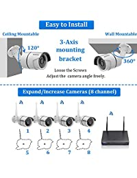 2019 New Security Camera System Wireless Outdoor, 4TB Hard Drive Pre-Install 8 Channel 1080P NVR, 8PCS 1080P 2.0MP CCTV WI-FI IP Cameras for Homes,OHWOAI HD Surveillance Video Security System.
