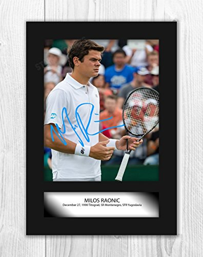 Engravia Digital Milos Raonic Poster Signed Mounted Autograph Reproduction Photo A4 Print(Unframed)