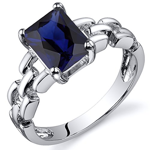 Chain Link Design 2.00 carats Created Blue Sapphire Engagement Ring in Sterling Silver Rhodium Nickel Finish Size 6