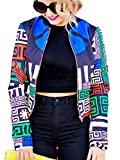 Women's Boho Floral Zip Up Baseball Jacket Long Sleeves Short Blazer Outfit
