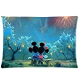 ARTSWOW 50% Polyester?50% Cotton Disney Cartoon Mickey Minnie Mouse Art Pillowcase with Zipper Rectangle Pillow Case Cover Standard Size Two Sides 20X30