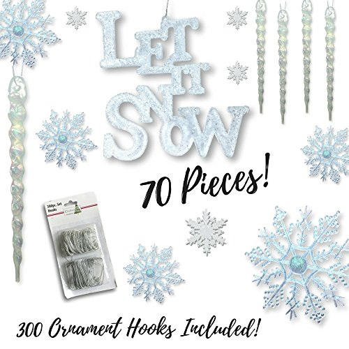 Winter Wonderland Decorations - Set of 70 Assorted Christmas Ornaments - Snowflakes - Icicles - Let It Snow Sign - White Glittery Xmas (Winter Wonderland Decoration)
