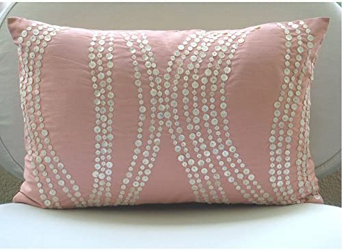 The HomeCentric Cushion Cover for Sofa Handmade Pink King Pillow Shams, Mother of Pearls King Pillow Shams, 20×36 inch 50×90 cm Silk King Pillow Shams – Angelic Soft