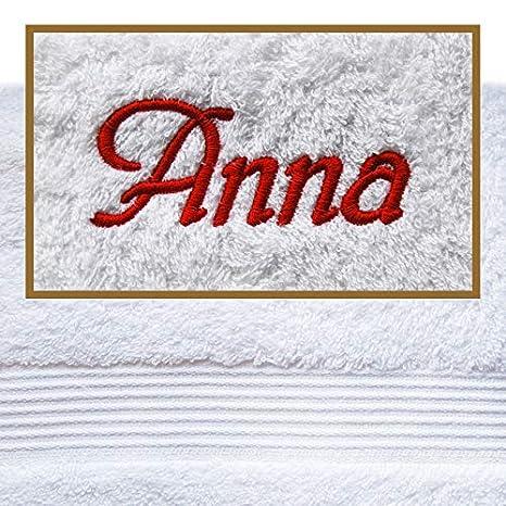 Toalla con nombres/deseos Concepto bordado, 100 x 150 cm, varios colores,