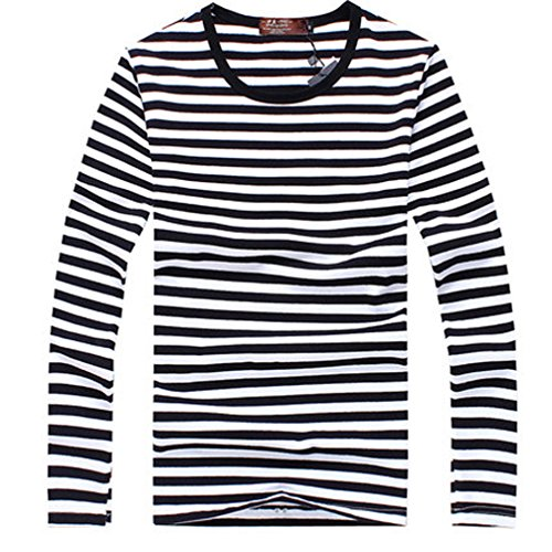 Men Fashion Striped Long Sleeve Round Neck Slim Overpull Top T-Shirt Shirt (M:chest:35.43