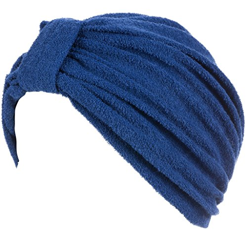 Head Cover For Ladies Womens Swim Bathing Turban   Cap   Great For Women With Cancer Chemo Therapy   Terry With Knote Navy