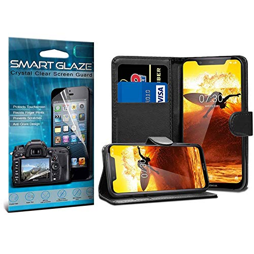 i-Tronixs Nokia 1 Wallet case (Black) Cover for Nokia 1 PU Leather Wallet  Book Flip Pouch + LCD Screen Protector Guard, Polishing Cloth Nokia 1 Wallet