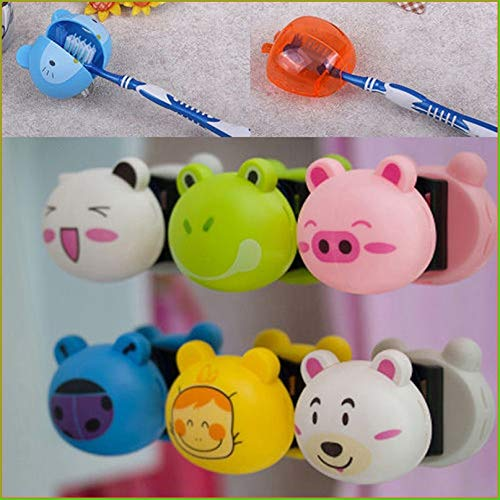 Toothbrush White - Cute Cartoon Toothbrush Holder Animal Head Suction Cup Wall Mount Hooks Bathroom Set - Ning Ner Electric Sonicare Soft
