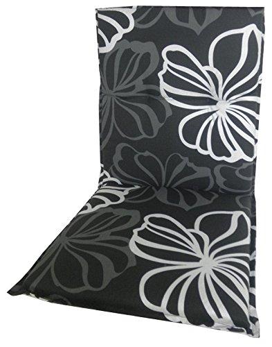 beo Garden chair cushions Saumauflage for low-back, circa 98 x 48 x 6 cm, black with white flowers Gartenstuhl-Kissen 4014119001595
