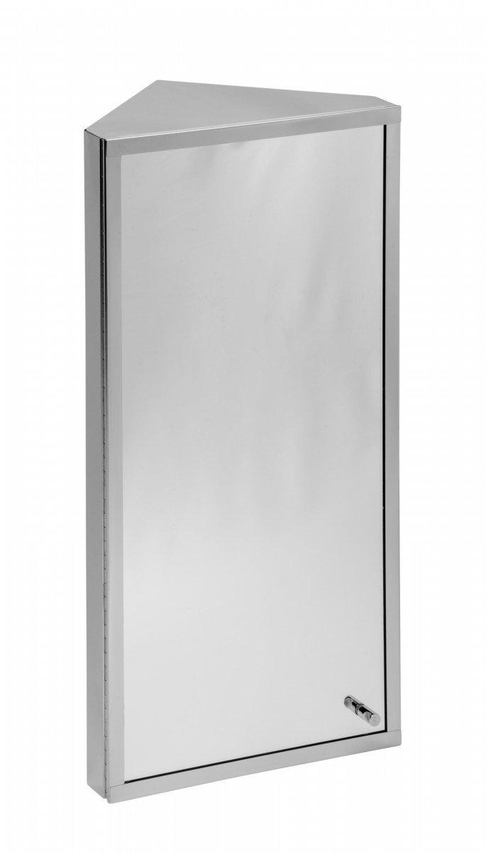 Amazon.com: Corner Medicine Cabinet Polished Stainless Steel Mirror ...