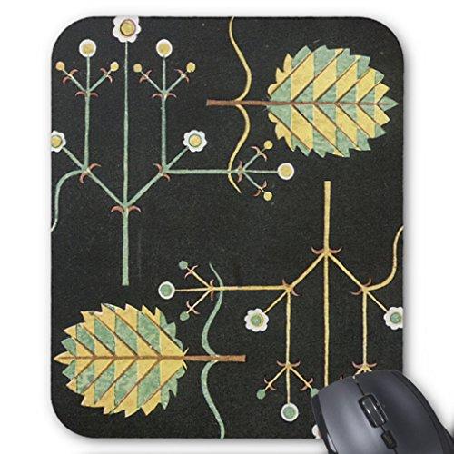 Zazzle Deco Flowers On Black Mouse Pad
