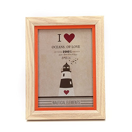 Zhenzan Frames 6x8-inch Color Suround Picture Frame with Glass Front (6x8, Orange)