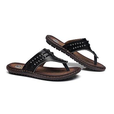 Mr.LQ Sandalen für Männer Soft Handgemachte Gummisohlen Sommer Fashion Daily Leder Strand Flip-Flops,Brown,45