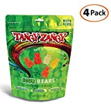 TANGY ZANGY Sour Bears | Gluten Free Candy, Non GMO Ingredients, Gelatin Free, Soft + Chewy Gummy Bears with Natural Colors + Flavors | 9oz - 4 Pack