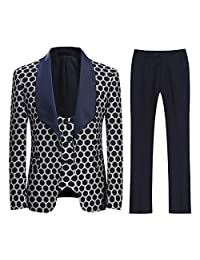Boyland Men's 3 Pieces Tuxedo Polka Dot Wide Shawl Collar Single Button Vintage Suit Dinner Party