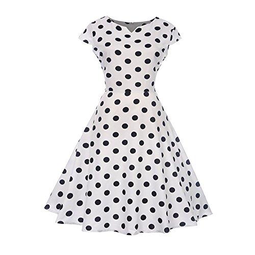 (Women Dresses Godathe Fashion Women Vintage V Neck Evening Printing Party Prom Swing Dress)