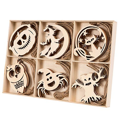 Wooden Halloween Crafts (HOHOTIME 30PCS Wood Cutouts, Halloween Wooden Ornaments, Wood Shapes for alloween Decorations, Halloween Party Decorations, Unfinished Wood Ornaments for DIY)