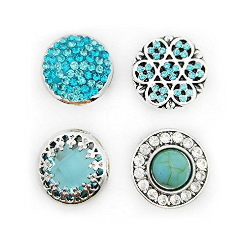 Lovglisten Mixed 4pcs Simple Style Sky-blue Alloy Full Rhinestones Snap Buttons Jewelry Charms
