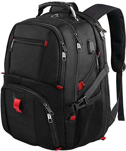 Travel Laptop Backpack, Extra Large College School Backpack for Mens and Women with USB Charging Port,TSA Friendly Water Resistant Big Business Computer Backpack Bag Fit 17 Inch Laptops Notebook,Black by YOREPEK