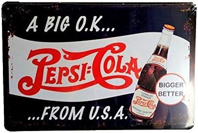 DiiliHiiri Cartel de Chapa Vintage Decoración, Letrero A4 Estilo Antiguo de metálico Retro - Pepsi Cola Coca Cola