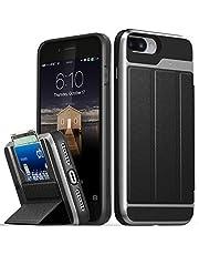 Vena Coque iPhone 8 Plus/7 Plus, Housse Étui Portefeuille en Cuir - Gris/Noir