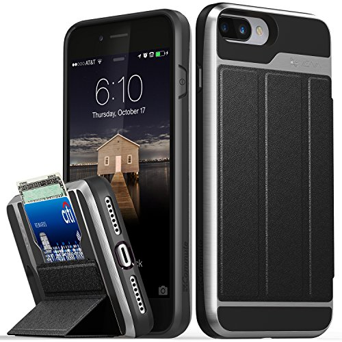 Case, iPhone 7 Plus Wallet Case, Vena [vCommute][Military Grade Drop Protection] Flip Leather Cover Card Slot w/ KickStand for Apple iPhone 8 Plus / 7 Plus (Space Gray / Black) (Grade Leather Cover)